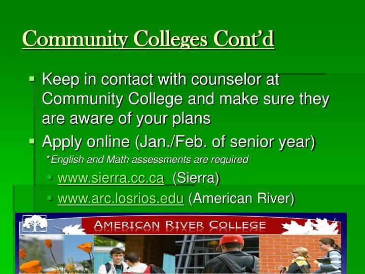 Community Colleges Cont'd