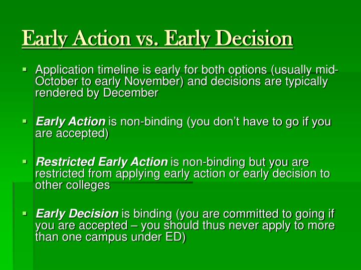 Early Action vs. Early Decision