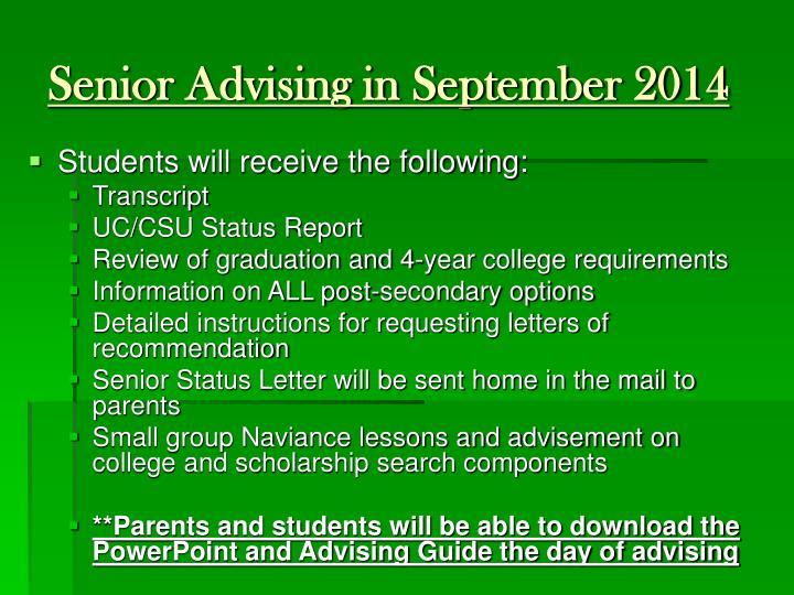 Senior Advising in September 2014