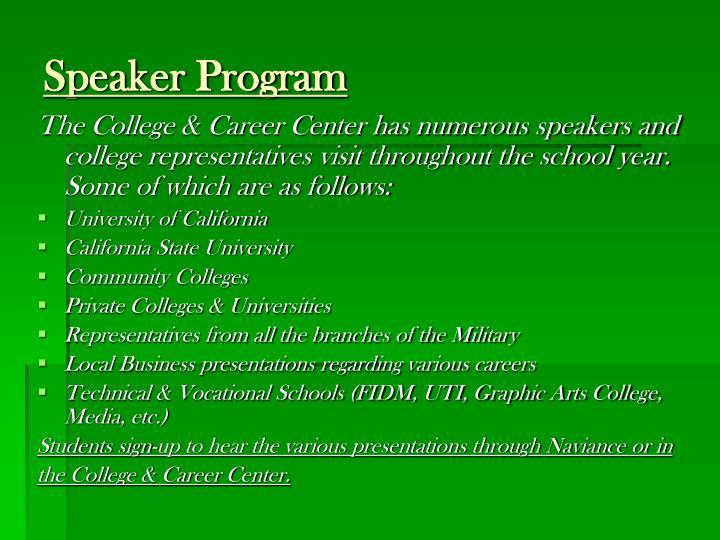 Speaker Program