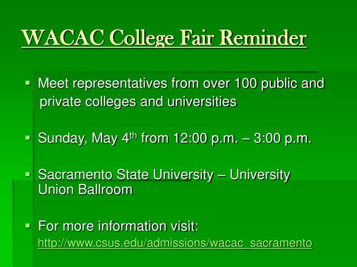 WACAC College Fair Reminder