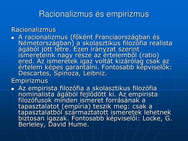 Racionalizmus és empirizmus
