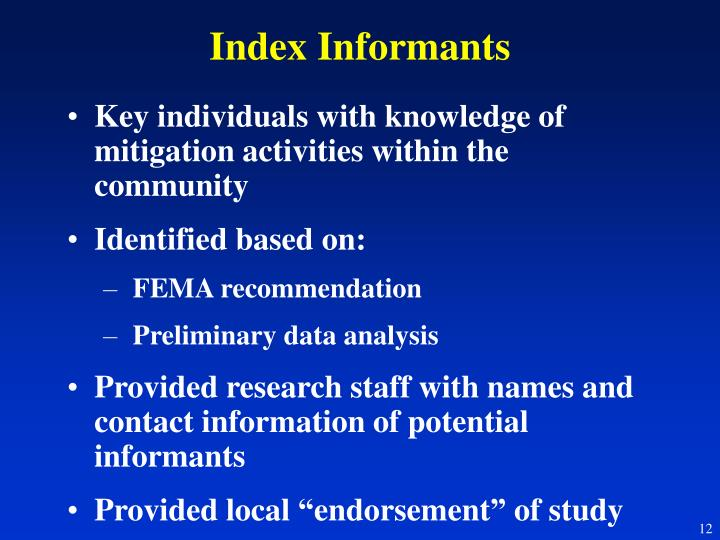 Index Informants