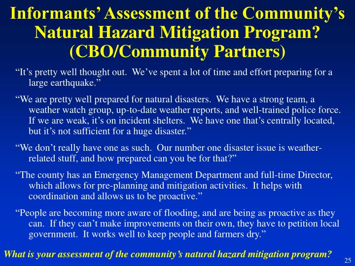 Informants' Assessment of the Community's Natural Hazard Mitigation Program? (CBO/Community Partners)
