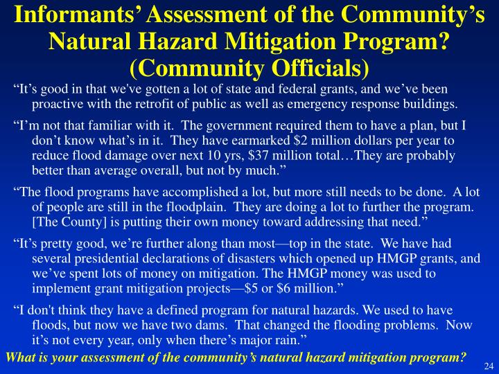 Informants' Assessment of the Community's Natural Hazard Mitigation Program? (Community Officials)