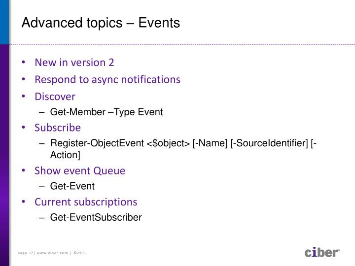 Advanced topics – Events
