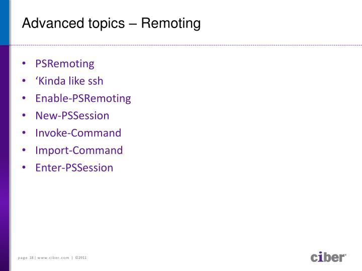 Advanced topics –