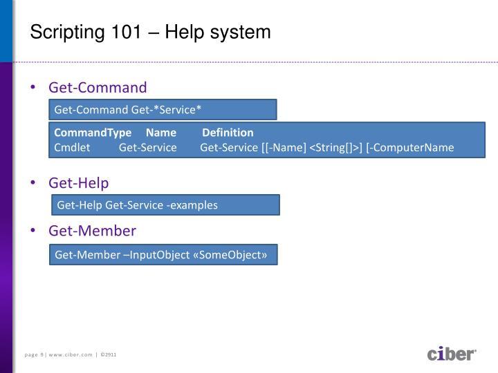 Scripting 101 – Help system