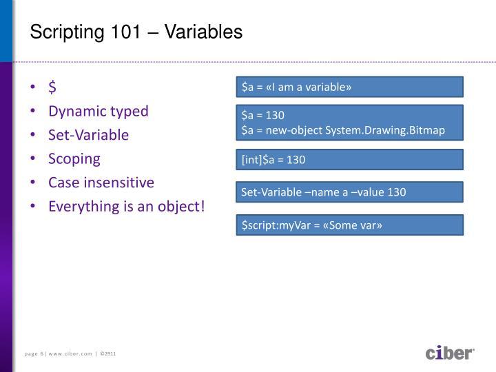 Scripting 101 – Variables