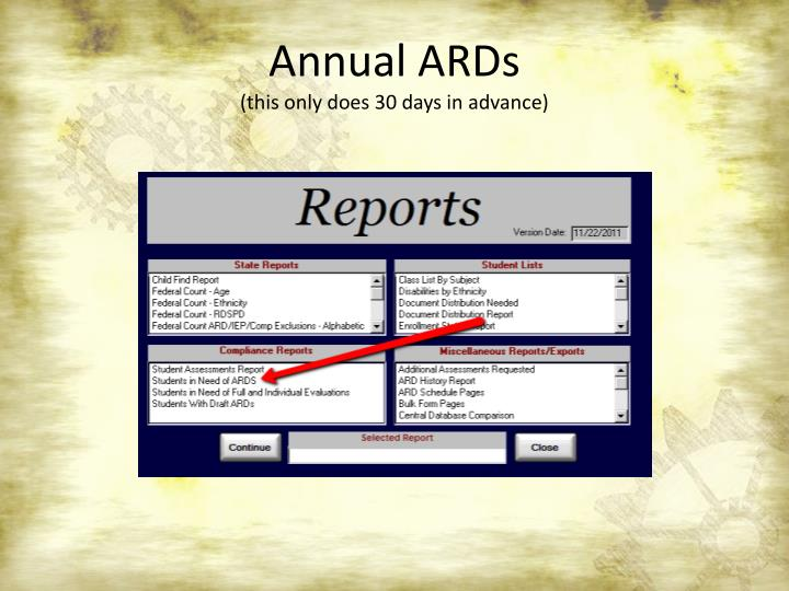 Annual ARDs