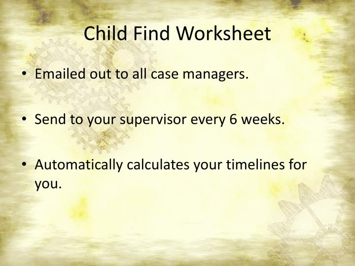 Child Find Worksheet