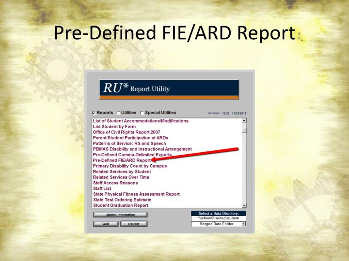 Pre-Defined FIE/ARD Report