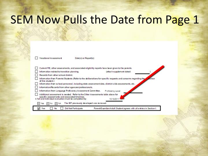 SEM Now Pulls the Date from Page 1