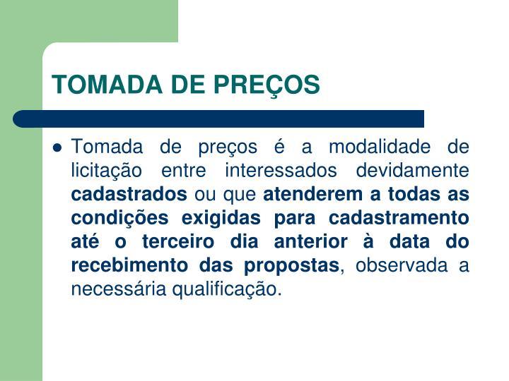 TOMADA DE PREÇOS