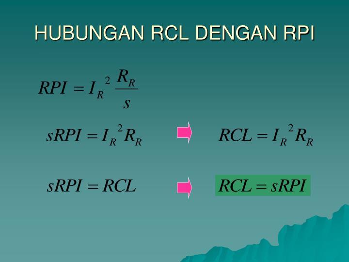 HUBUNGAN RCL DENGAN RPI