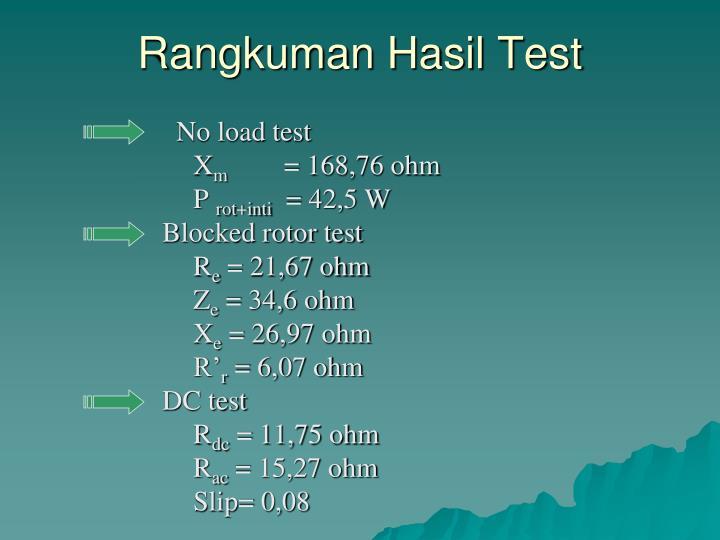 Rangkuman Hasil Test