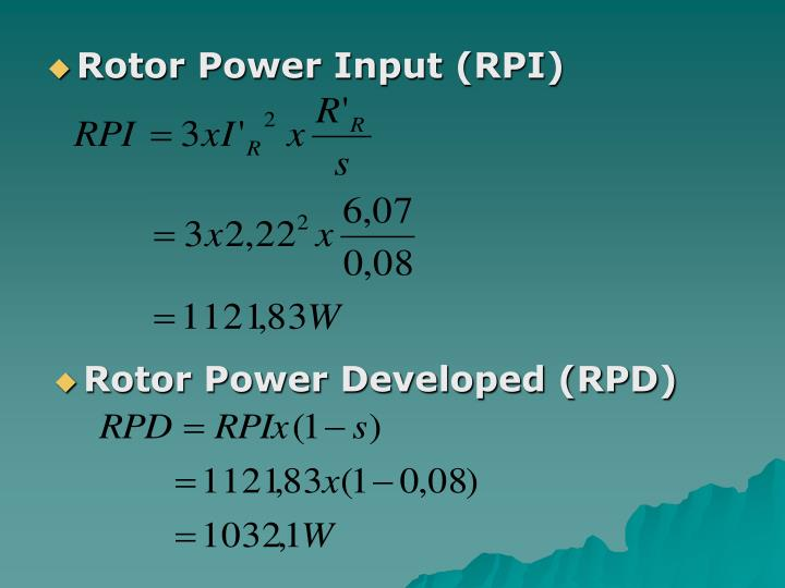 Rotor Power Input (RPI)