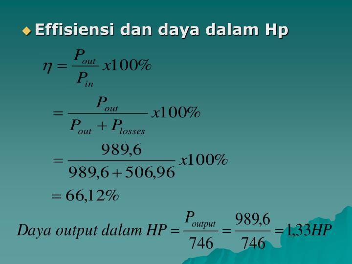 Effisiensi dan daya dalam Hp