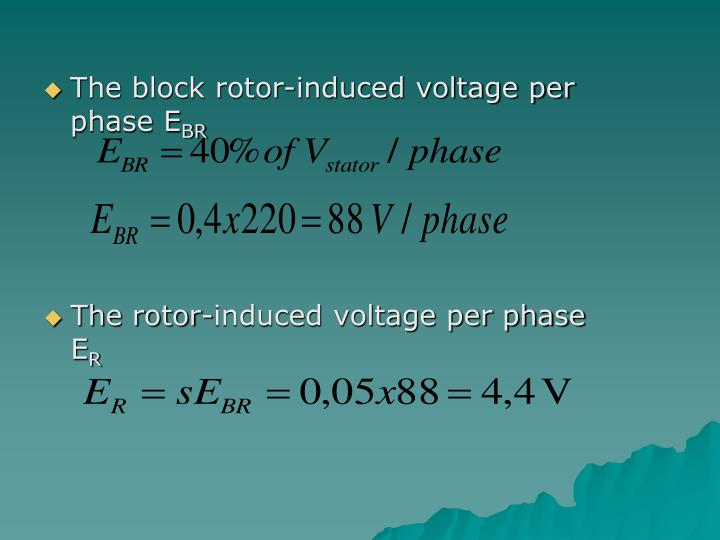 The block rotor-induced voltage per phase E