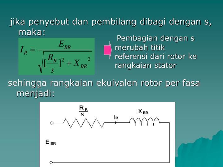 Pembagian dengan s merubah titik referensi dari rotor ke rangkaian stator