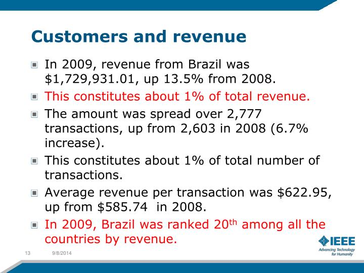 Customers and revenue