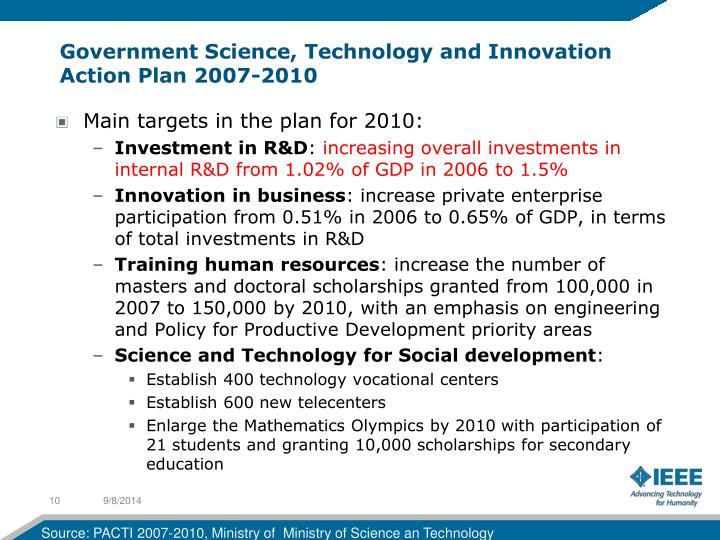 Government Science, Technology and Innovation Action Plan 2007-2010