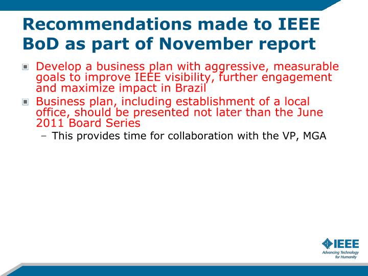 Recommendations made to IEEE BoD as part of November report