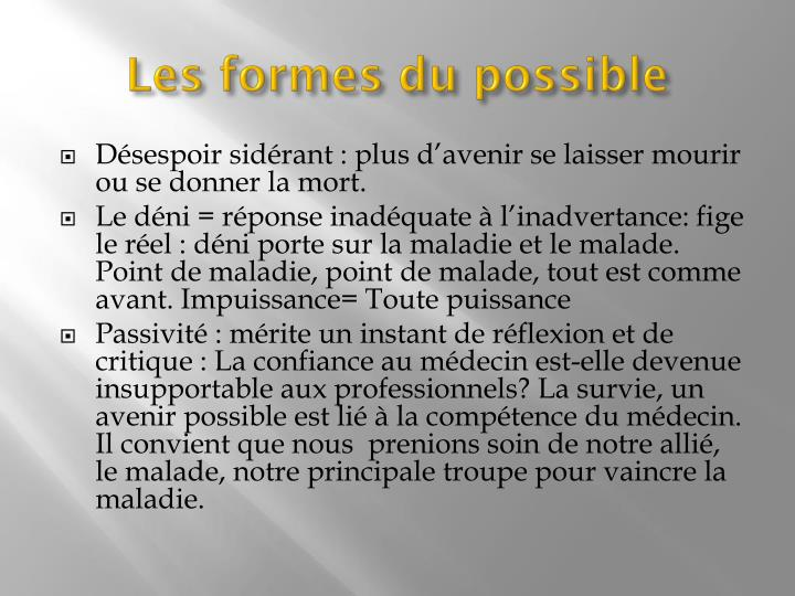 Les formes du possible