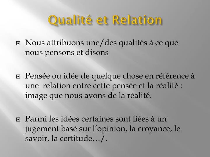 Qualité et Relation