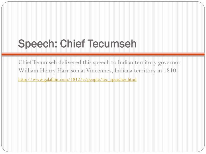 Speech: Chief Tecumseh