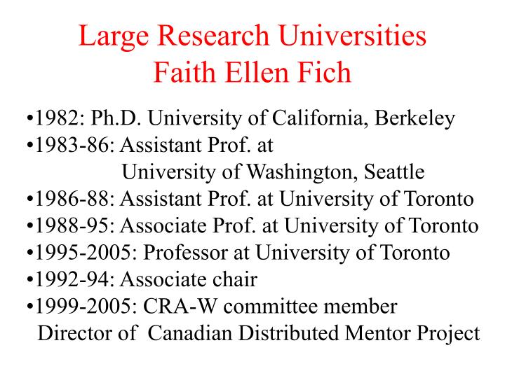 Large research universities faith ellen fich