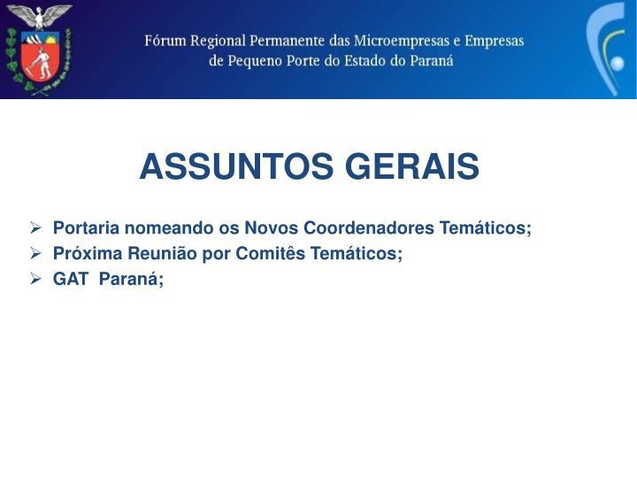 ASSUNTOS GERAIS