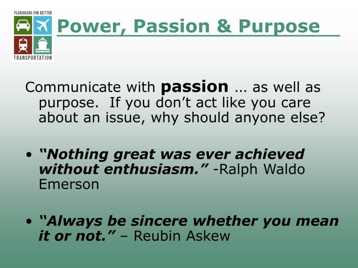 Power, Passion & Purpose