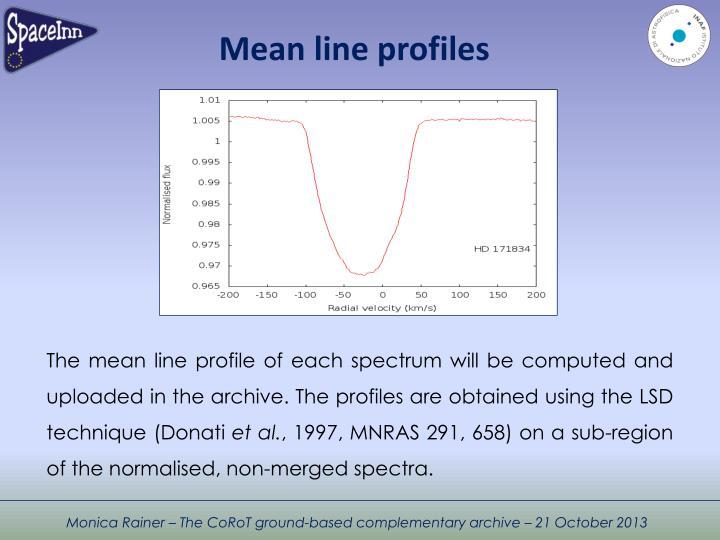 Mean line profiles