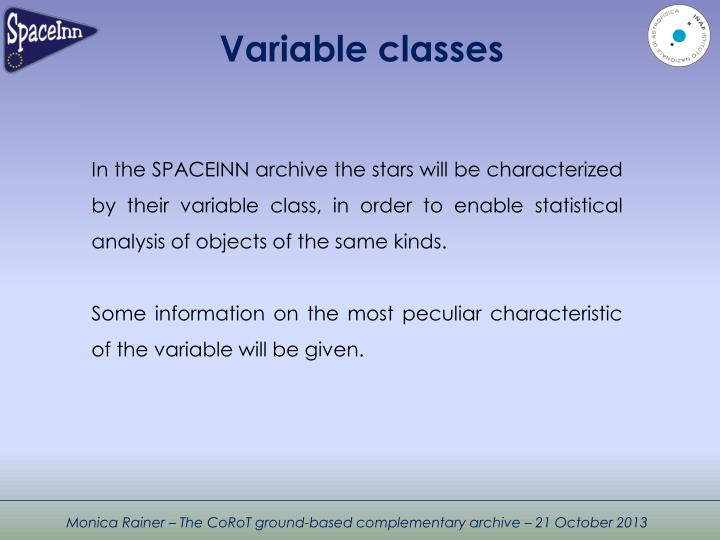 Variable classes