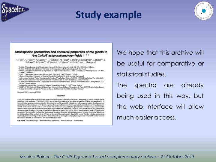 Study example