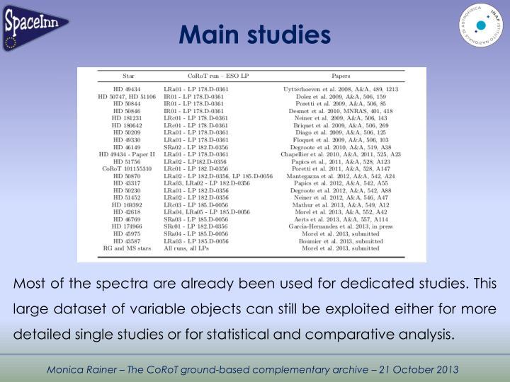 Main studies