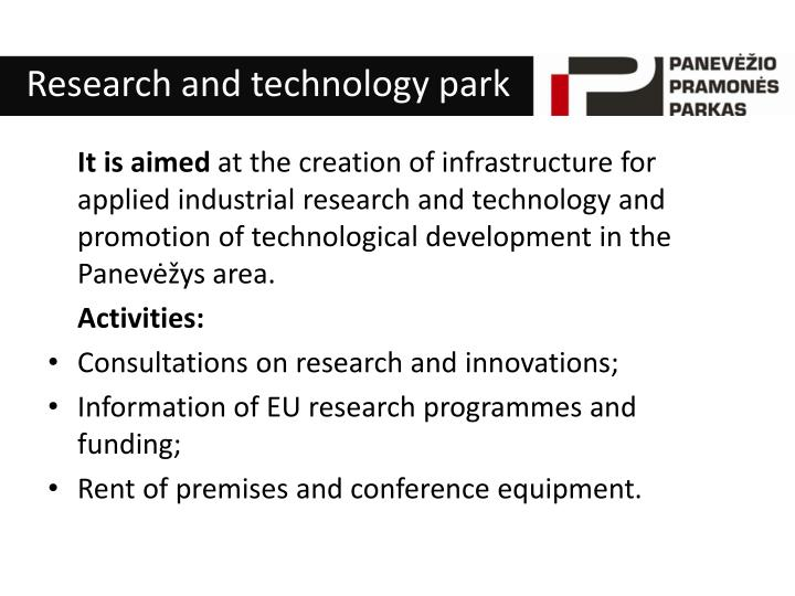 Research and technology park