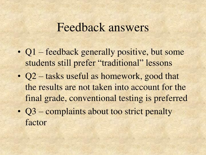 Feedback answers
