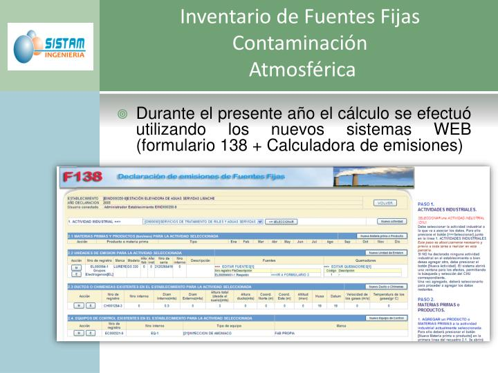 Inventario de Fuentes Fijas Contaminación