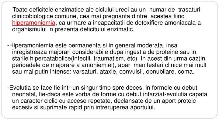 -Toate deficitele enzimatice ale ciclului ureei au un  numar de  trasaturi clinicobiologice comune, cea mai pregnanta dintre  acestea fiind