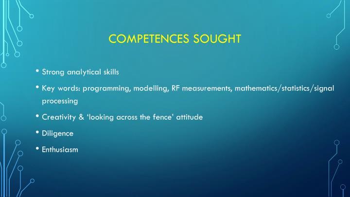 Competences sought