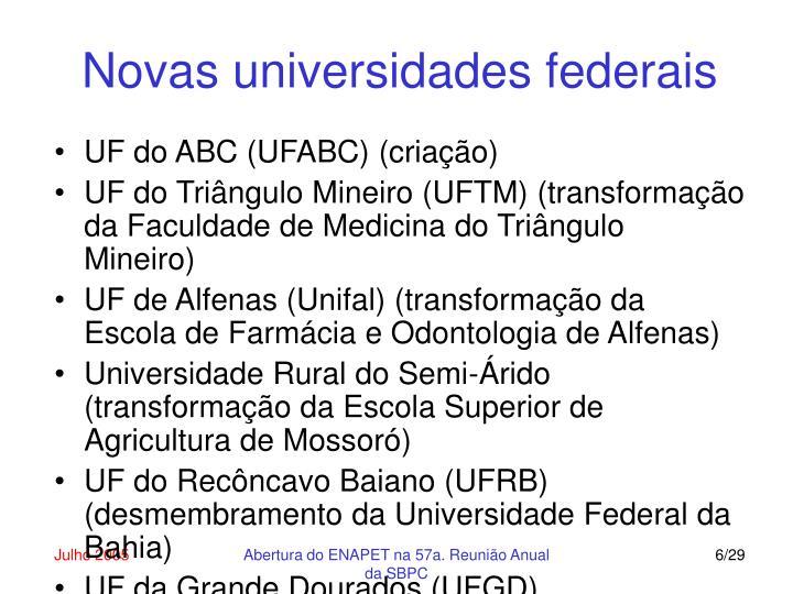 Novas universidades federais