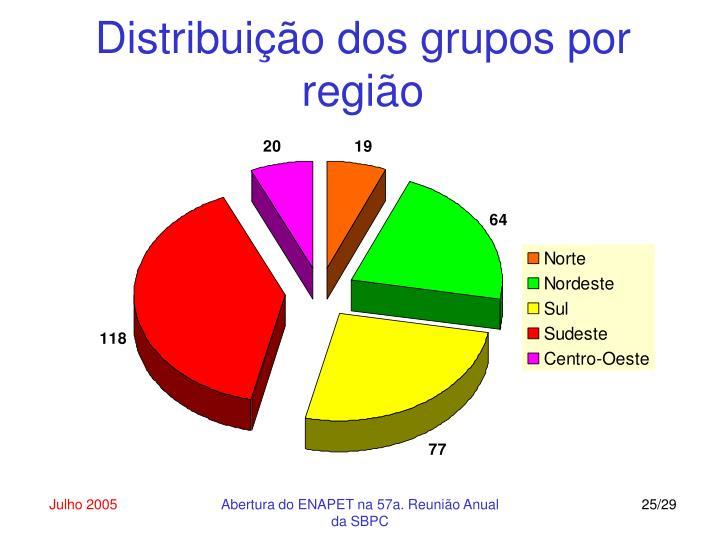 Distribuição dos grupos por região