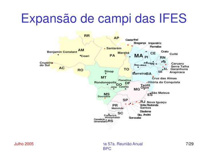 Expansão de campi das IFES