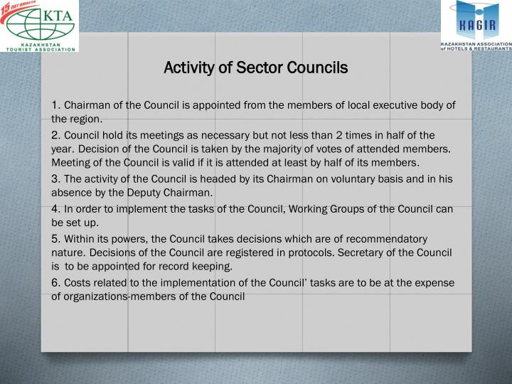 Activity of Sector Councils