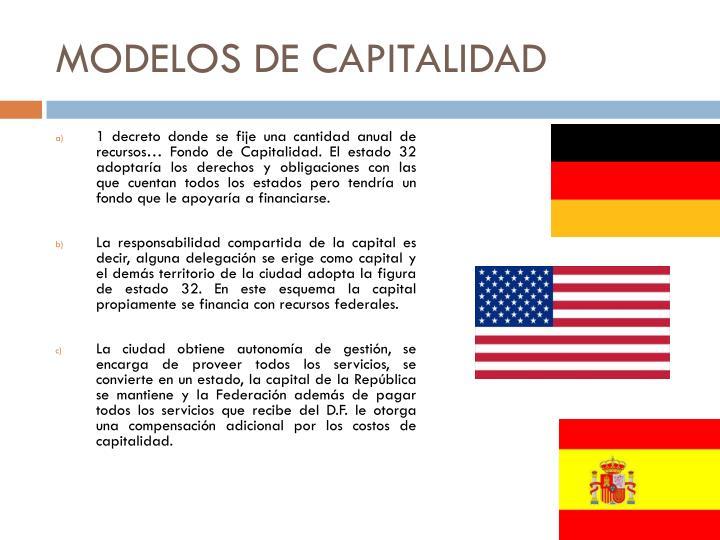 MODELOS DE CAPITALIDAD