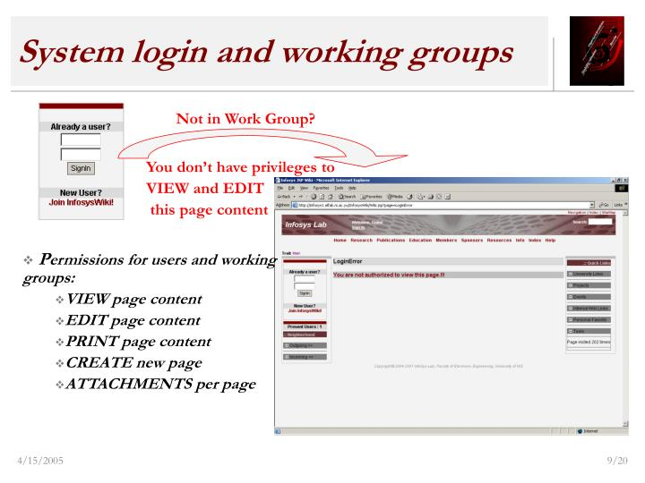 System login and working groups