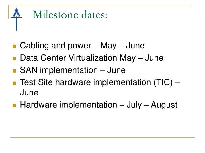Milestone dates: