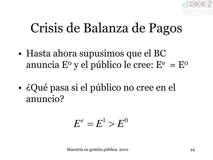 Crisis de Balanza de Pagos